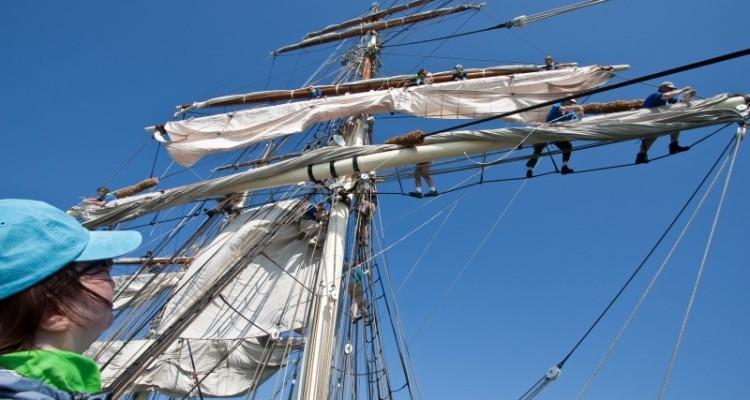 Seamanship Training On Board The 1877 Tall Ship Elissa